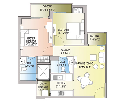 2 BHK + 2T - 891 Sq. Ft.