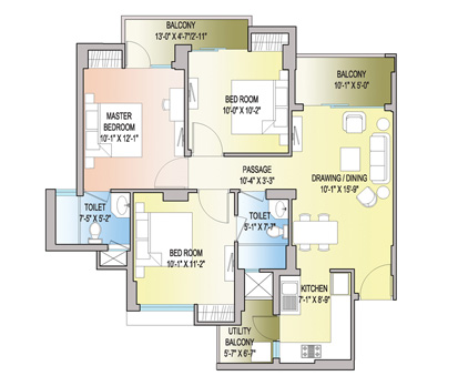 3 BHK + 2T - 1206 Sq. Ft.