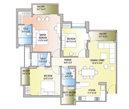 3 BHK + 3T - 1521 Sq. Ft.