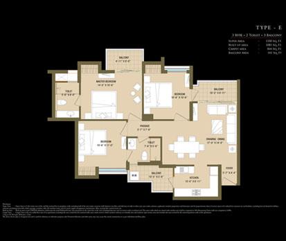 Bleu Casa - Type E - 3 BHK + 2 Toilets + 3 Balcony